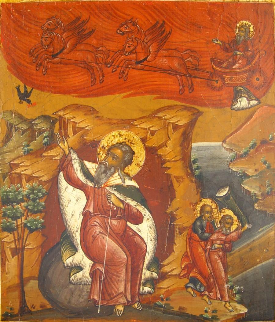 Икона святой пророк Илия, вознесение на небо на колеснице огненной